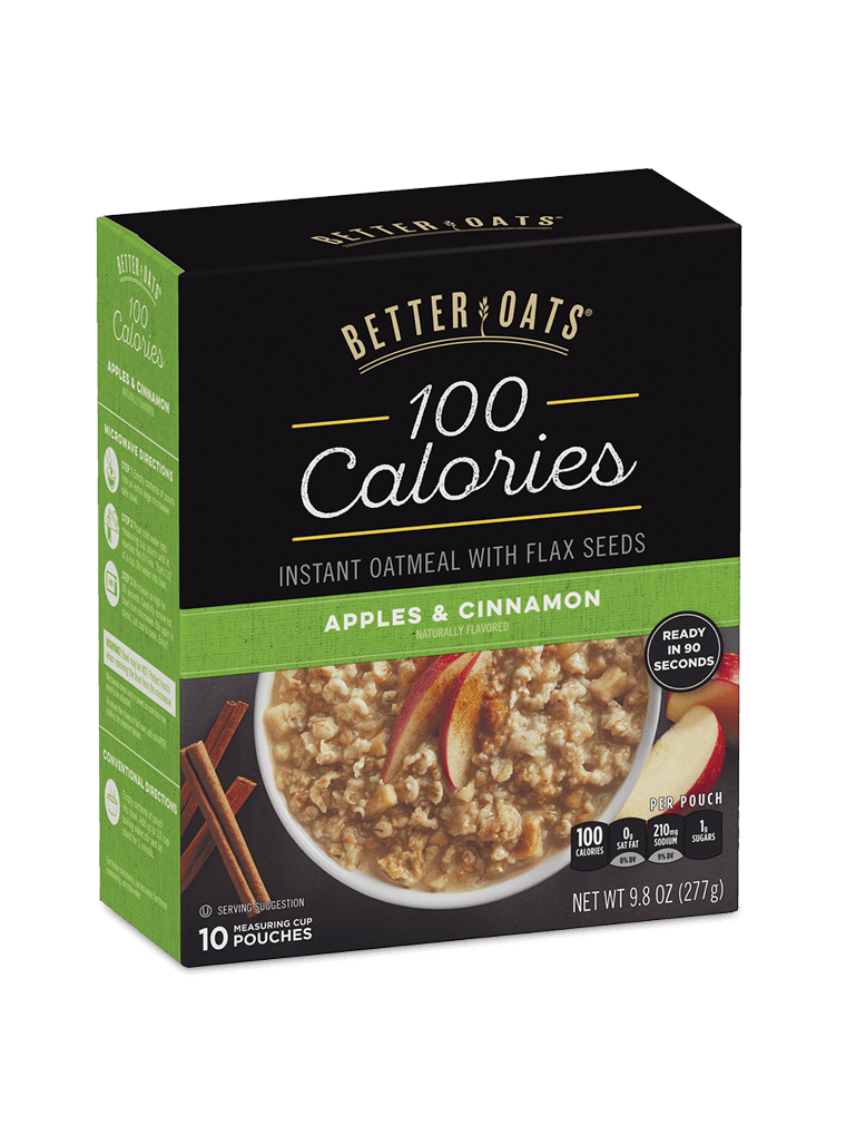 Better Oats 100 Calories Apples and Cinnamon Instant Oatmeal box image