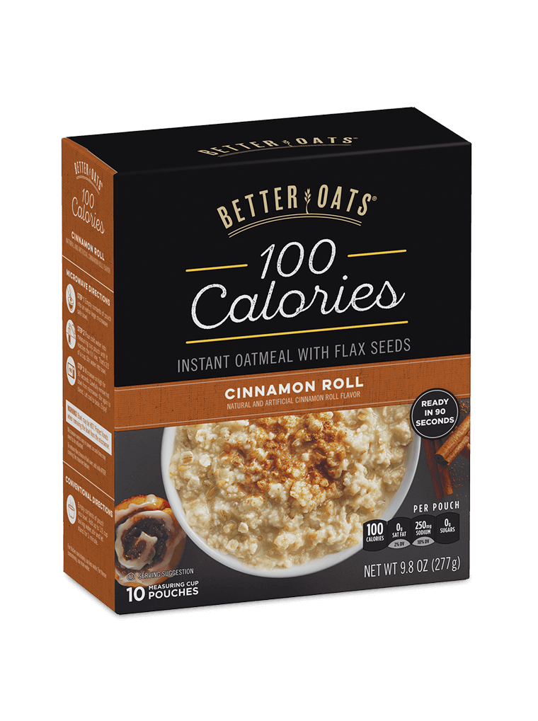 Better Oats 100 Calories Cinnamon Roll Instant Oatmeal box image