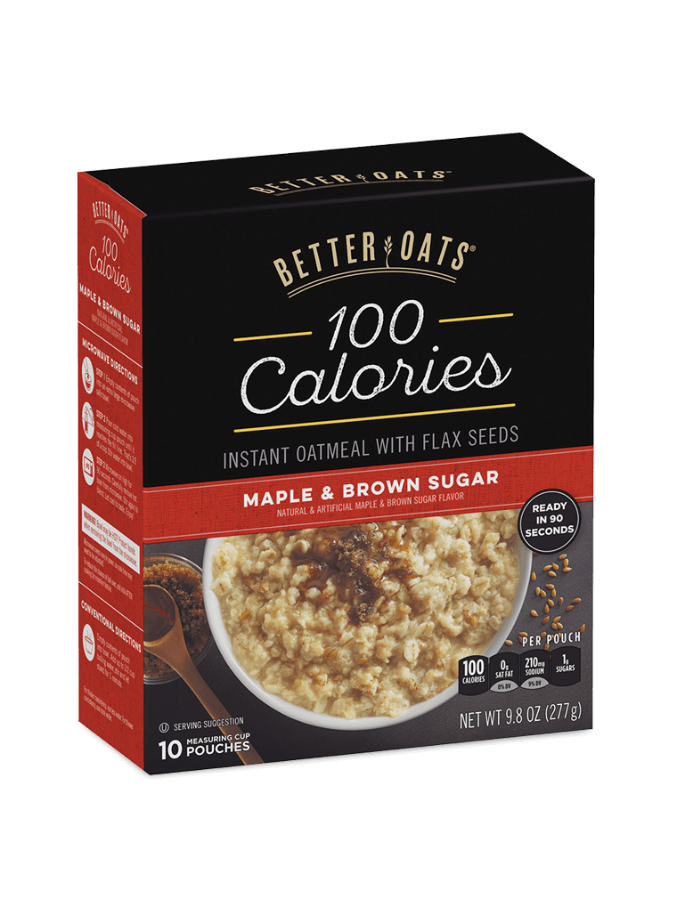 Better Oats 100 Calories Maple & Brown Sugar Instant Oatmeal box image