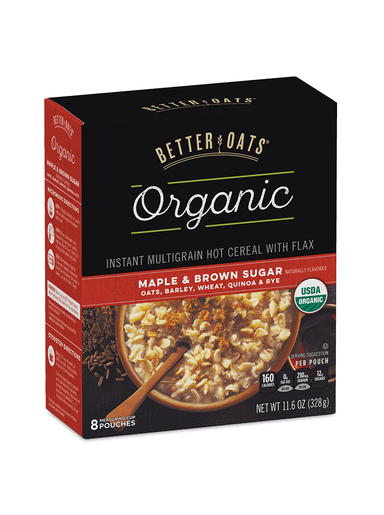 Better Oats Organic Maple & Brown Sugar Instant Oatmeal box image