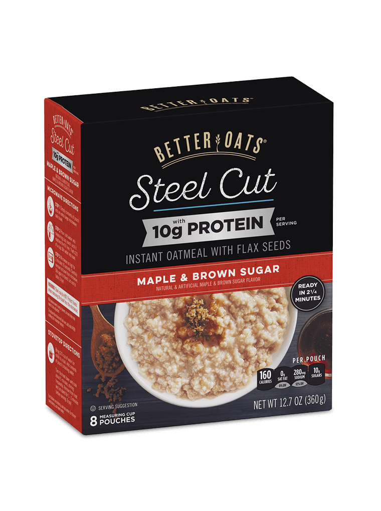 Better Oats Steel Cut 10g Protein Maple & Brown Sugar Instant Oatmeal box image