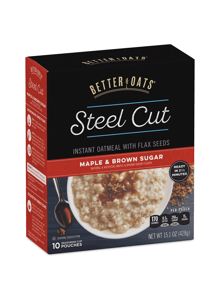 Better Oats Steel Cut Maple & Brown Sugar Instant Oatmeal box image