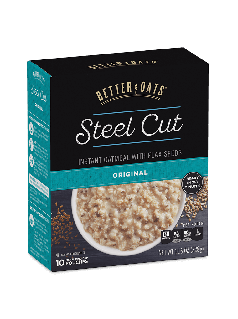 Better Oats Steel Cut Original Instant Oatmeal box image