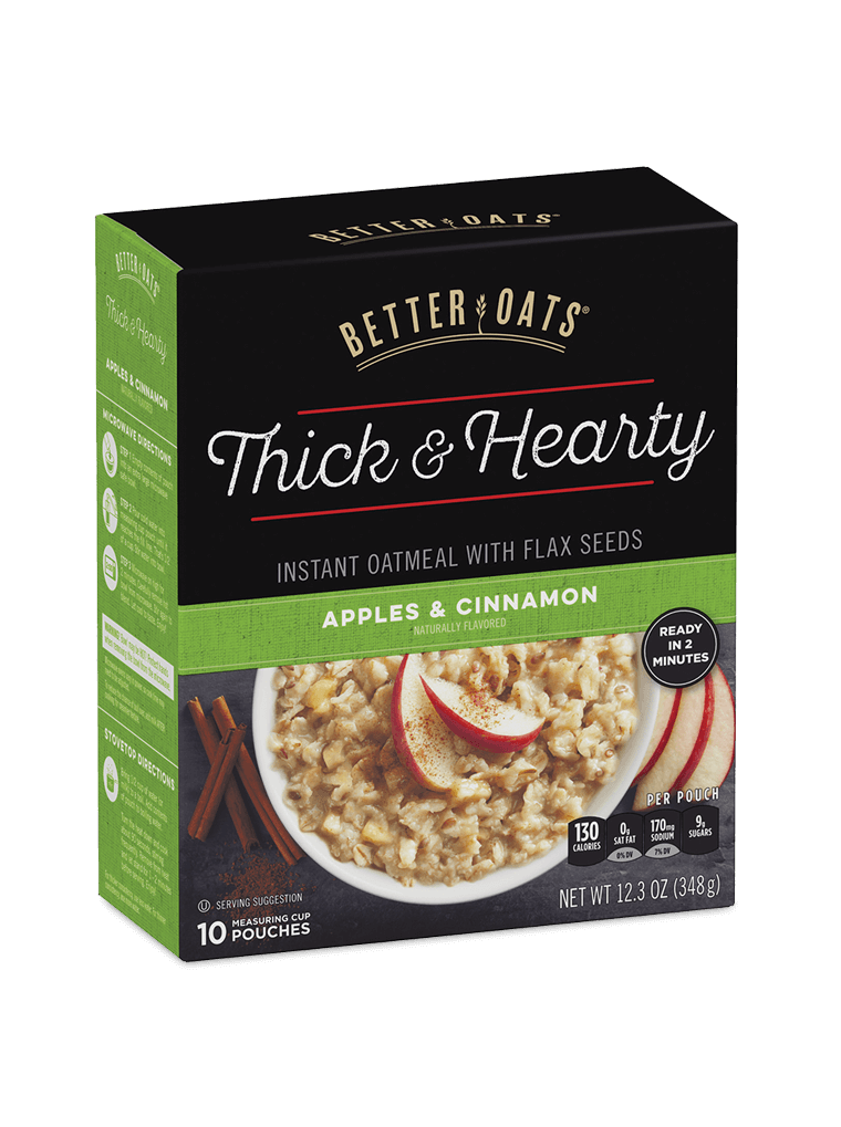 Better Oats Thick & Hearty Apples & Cinnamon Instant Oatmeal box image